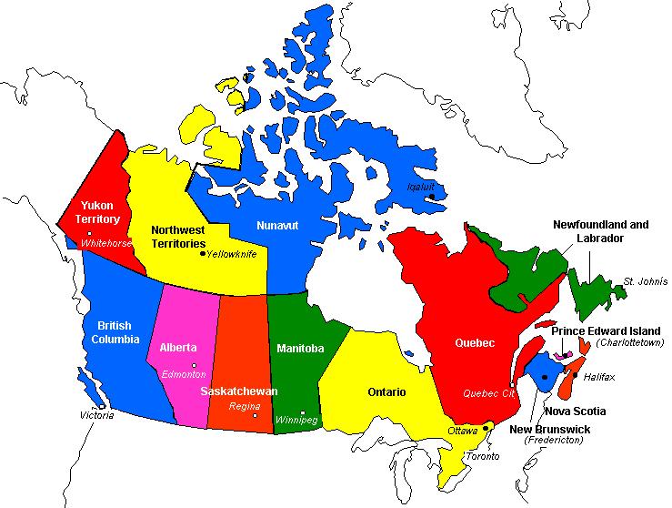 Cartina Canada Politica.Mappa Del Canada Estensione Zone Geografiche E Paesaggi